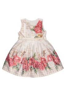 Vestido Infantil Barrado Floral Vermelho - Anjos Baby Chic Palha