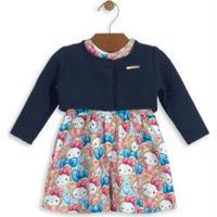 396c6a2bb0 Posthaus. Vestido E Bolero Estampado Bebê Azul Hello Kitty