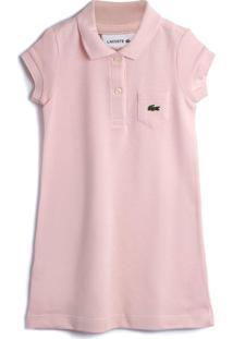 Vestido Polo Lacoste Kids Liso Rosa - Tricae