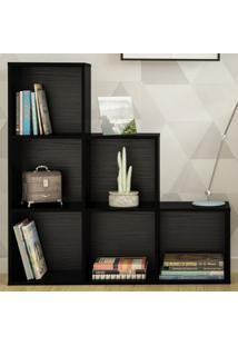 Estante Para Livros Grid Preto - Artely