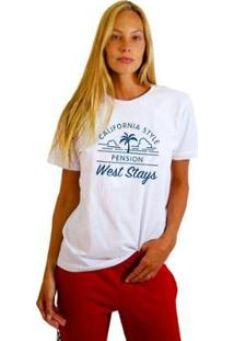 Camiseta Joss Feminina Estampada West Stays - Feminino-Branco