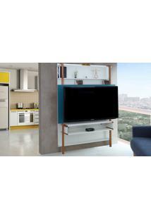 Painel De Tv Para Sala Branco Com Azul - Rack De Parede Para Tv Até 60 Polegadas Karl Woodinn - 134X25,5X180 Cm