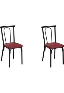 Conjunto Com 2 Cadeiras Albury Vinho E Preto