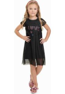 Vestido Infantil Tela Cinza