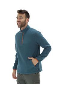 Blusa De Frio Fleece Nord Outdoor Bicolor - Masculina - Verde Esc/Laranja