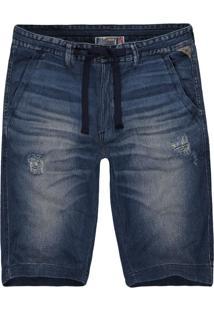 Bermuda Jeans Khelf Cordão Cintura Jeans - Kanui