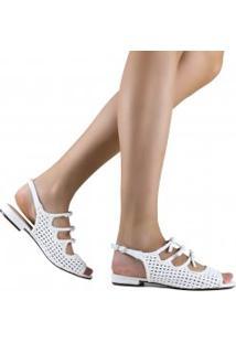 Sandália Zariff Shoes Rasteira Laço Tressê