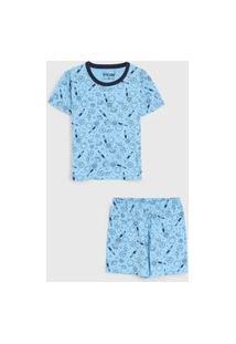 Pijama Tricae Curto Infantil Planetas Azul
