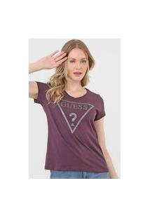 Camiseta Guess Logo Glitter Vinho