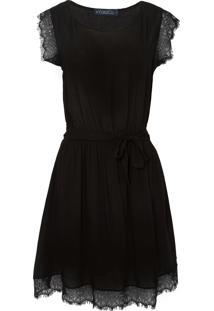 Vestido Elástico Renda - Preto