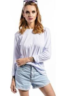 Camiseta Cia Gota Manga Longa Basic Feminina - Feminino-Branco