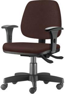 Cadeira Job Com Bracos Assento Courino Marrom Base Rodizio Metalico Preto - 54604 - Sun House