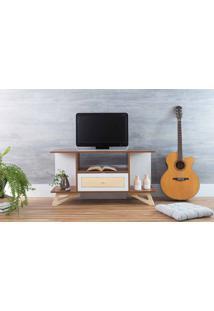 Rack De Tv Pequeno Stills Freijó E Branco Com Taeda 108X33,6X56,5Cm
