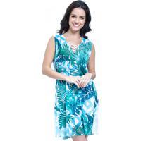 2192b6430 Dafiti. Vestido Evasê Curto 101 Resort Wear Estampado Folha Verde