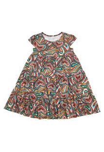 Vestido Infantil Três Babados Estampado Color