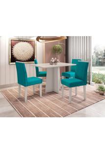 Conjunto De Mesa De Jantar Com Tampo De Vidro Ana E 4 Cadeiras Amanda Veludo Off White E Turquesa