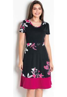 Vestido Floral Moda Evangélica Com Elástico