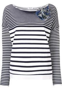 Liu Jo Camiseta Listrada Decote Canoa - Branco