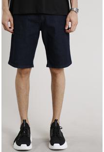 Bermuda Jeans Masculina Slim Com Bolsos Azul Escuro