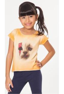 Camiseta Infantil Rock Felina Reserva Mini Feminina - Feminino-Laranja Claro
