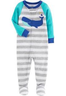 Pijama Bebê Carter'S Manga Longa Com Pezinho Blue Whale Masculino - Masculino-Cinza