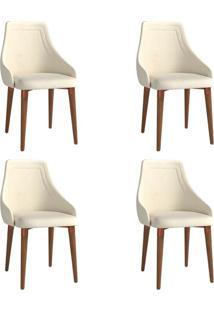 Conjunto Com 4 Cadeiras De Jantar Evelyn Bege