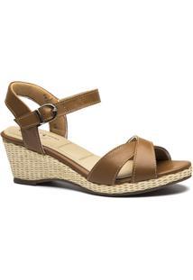 2b16345ca Sandália Couro Doctor Shoes Anabela 613 Feminina - Feminino-Bege