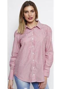 Camisa Listrada Com Tiras- Rosa   Brancadudalina 9605f3da1a