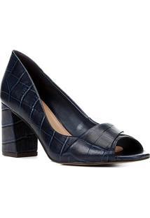 Peep Toe Couro Shoestock Croco Salto Bloco Médio - Feminino-Marinho