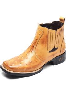 Bota Country Bico Quadrado Top Franca Shoes Avestruz Banana