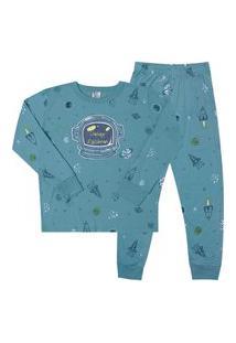 Pijama Meia Malha - 46582-1192 - (4 A 10 Anos) Pijama Rotativo Aqua - Infantil Menino Meia Malha Ref:46582-1192-4