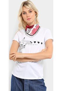 Camiseta Lez A Lez Estampada Com Lenço Feminina - Feminino-Branco