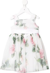 Dolce & Gabbana Kids Vestido Floral Com Tule - Branco