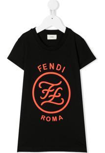 Fendi Kids Vestido Karligraphy Com Estampa - Preto
