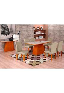 Conjunto De Mesa De Jantar Luna Com Vidro E 6 Cadeiras Ane I Linho Imbuia E Branco