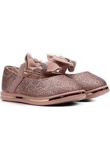 Sapato Infantil Molekinha Glitter Laço Feminino - Feminino-Ouro