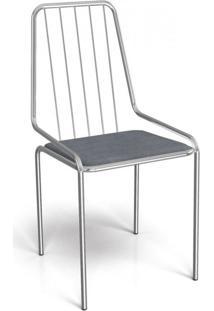Cadeira De Ferro Benim Crome Kappesberg Cromado/Preto Linho Cinza
