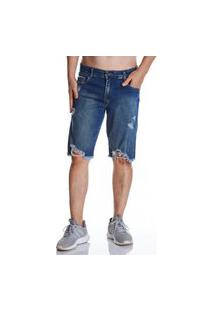 Bermuda Jeans Zait Tradicional Carlos Azul Marinho