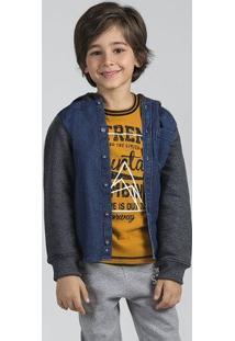Camisa Jeans Infantil Menino De Manga Longa Com Capuz Puc [] []