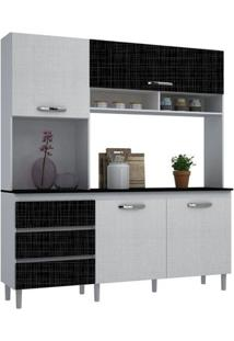 Cozinha Compacta 04 Portas Florença Branco/Linho Gelo/Linho Negro - Mpdecor