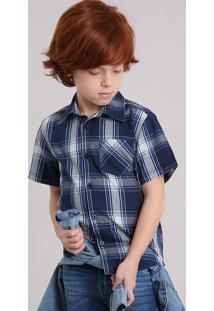 Camisa Infantil Xadrez Manga Curta Com Bolso Azul Marinho