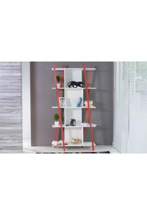Estante Branca Pequena Para Quarto/Sala Design 5 Prateleiras E Nichos Moderna Mdf E Madeira Cor Vermelha Sue Woodinn 90X38X180 Cm