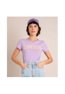 """Camiseta De Algodão """"London"""" Manga Curta Decote Redondo Lilás"""