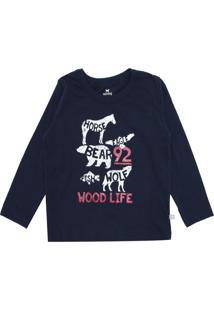Camiseta Hering Kids Menina Escrita Azul-Marinho