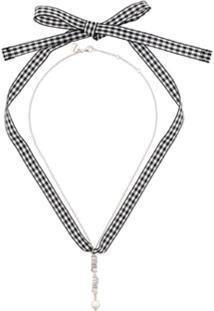 Miu Miu Colar Com Cristais Swarovski E Logo - Metálico