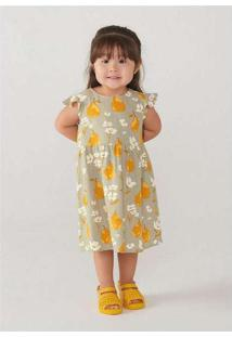 Vestido Infantil Em Viscose E Linho Toddler Cinza