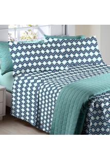 b46e9ca830 Jogo De Cama Queen 4 Peças Micro Color Art Corttex Kirk Azul A Kirk Azul A