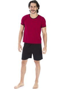5cb5ab122 Pijama Curto Inspirate Piquet Masculino - Masculino-Vermelho Escuro+Preto