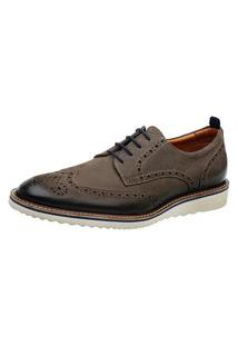 Sapato Oxford Masculino Couro Moderno Confortável Marrom 37 Cinza