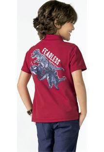 Camiseta Polo Infantil Menino Em Algodão Piquet Com Estampa Puc       56d4f072423d7